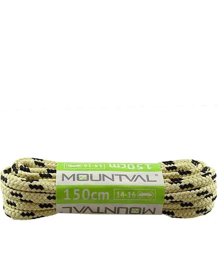 Beżowo-czarne, trekkingowe sznurówki do butów, 120 cm, Mountval