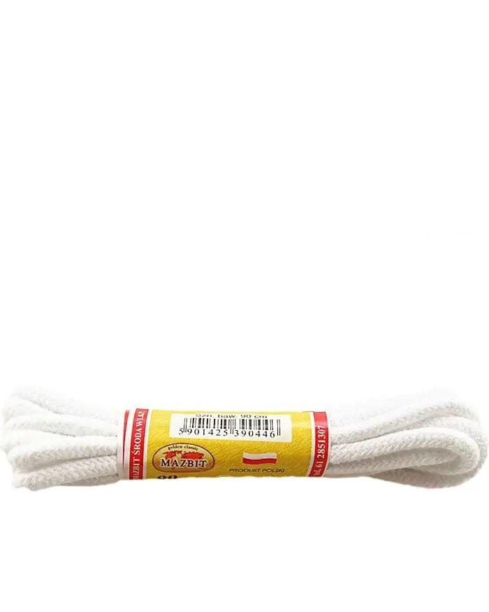 Białe sznurówki do butów, okrągłe grube 90 cm Mazbit
