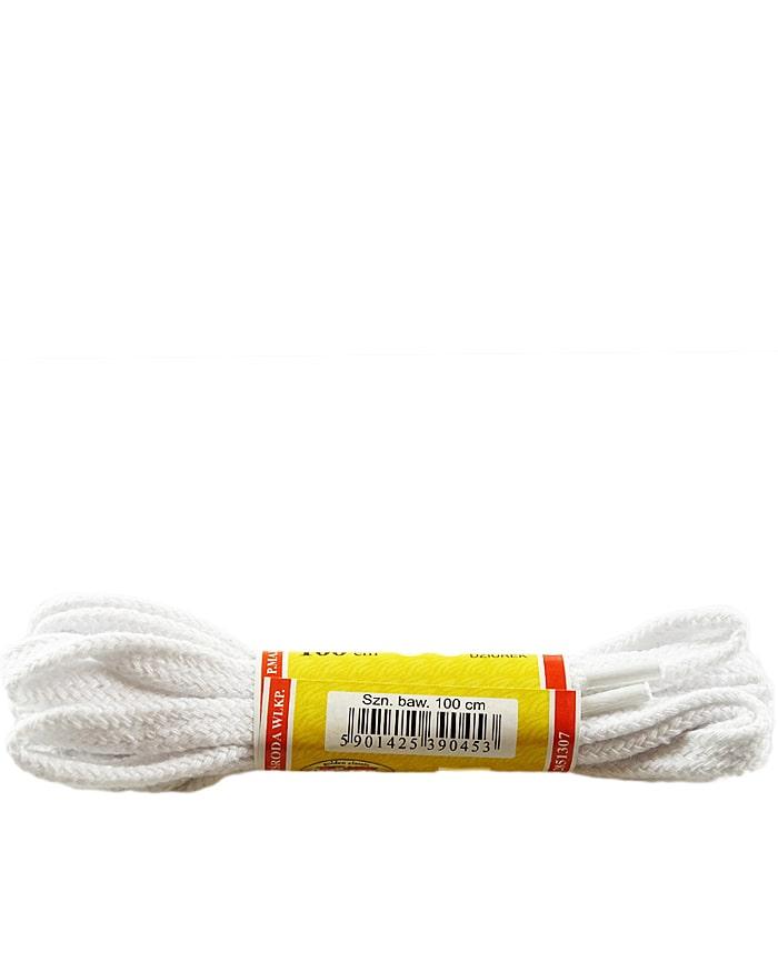 Białe, płaskie sznurówki do butów 75 cm Mazbit