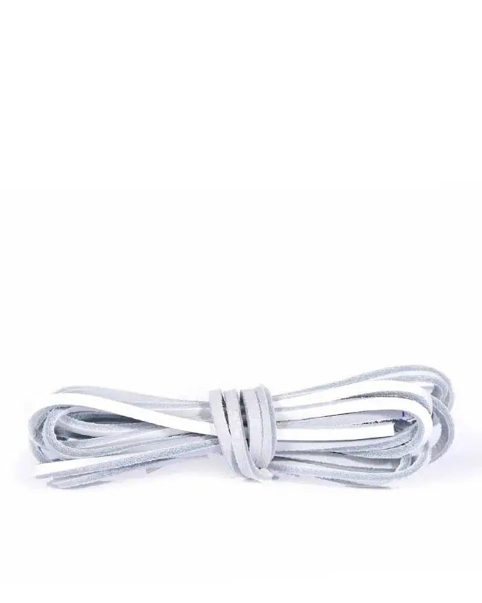 Białe skórzane rzemyki, skórzane sznurówki do butów 120 cm Kaps