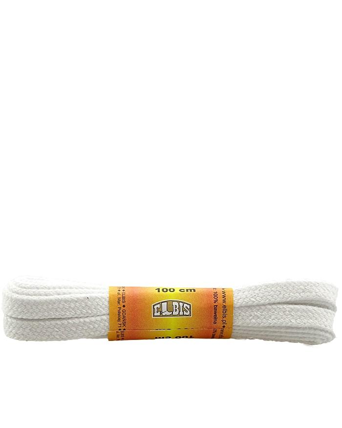 Białe, płaskie, sznurowadła do butów, 150 cm, Elbis