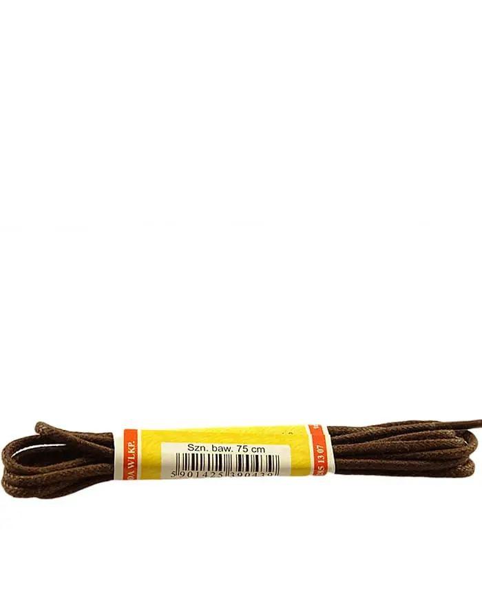 Brązowe, woskowane, sznurówki okrągłe cienkie 75 cm Mazbit