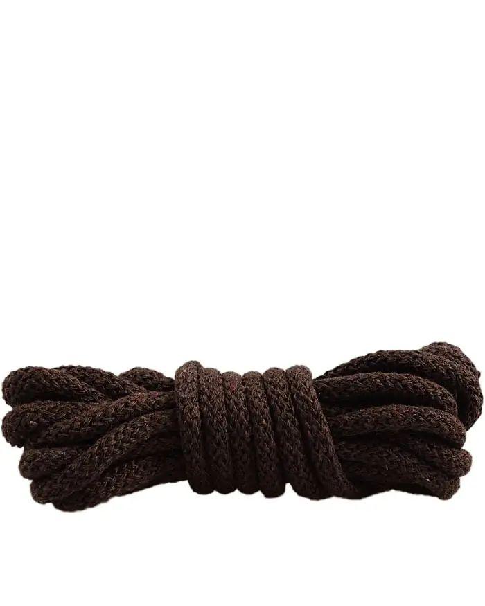 Ciemnobrązowe, okrągłe grube, sznurówki do butów 120 cm Mazbit