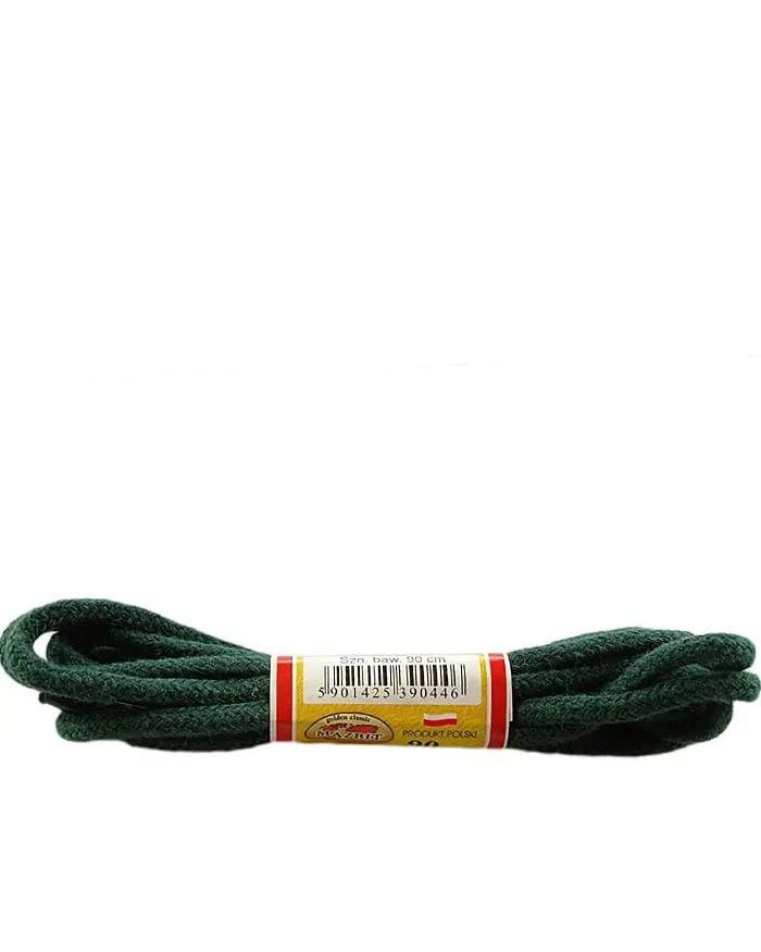 Ciemnozielone sznurówki do butów, okrągłe grube 90 cm Mazbit