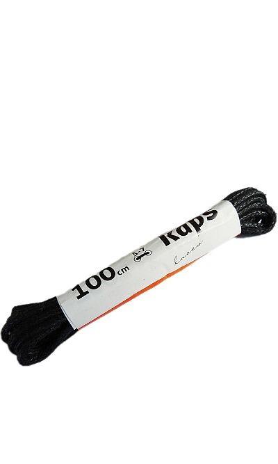 Czarne, woskowane, sznurówki do butów okrągłe cienkie 100 cm Kaps