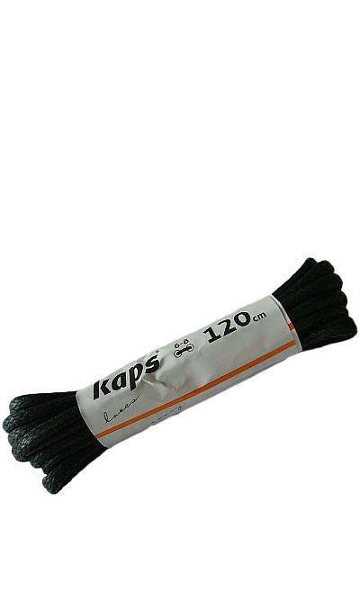Czarne, woskowane, sznurówki do butów okrągłe grube 120 cm Kaps