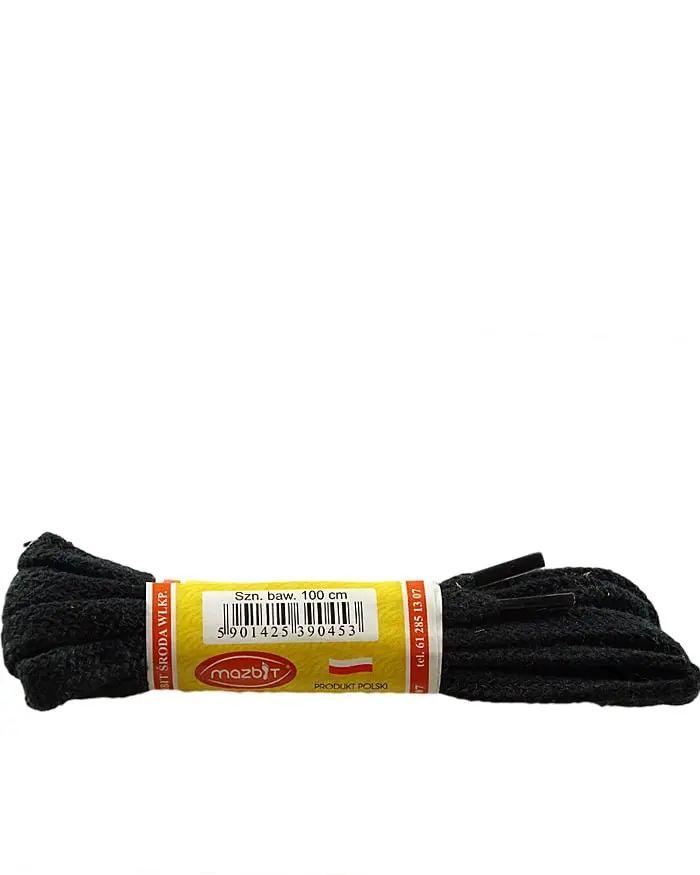 Czarne, płaskie, sznurówki do butów 100 cm Mazbit