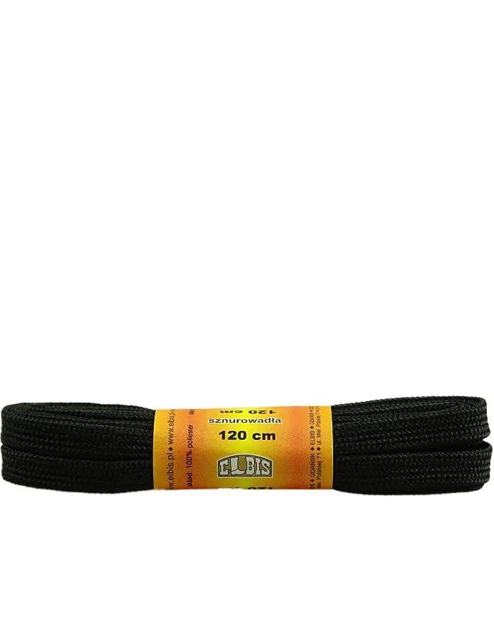 Czarne, poliestrowe, płaskie sznurówki do butów 120 cm