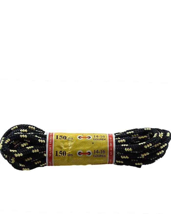 Czarno-miodowe, trekkingowe sznurówki do butów 150 cm Mazbit
