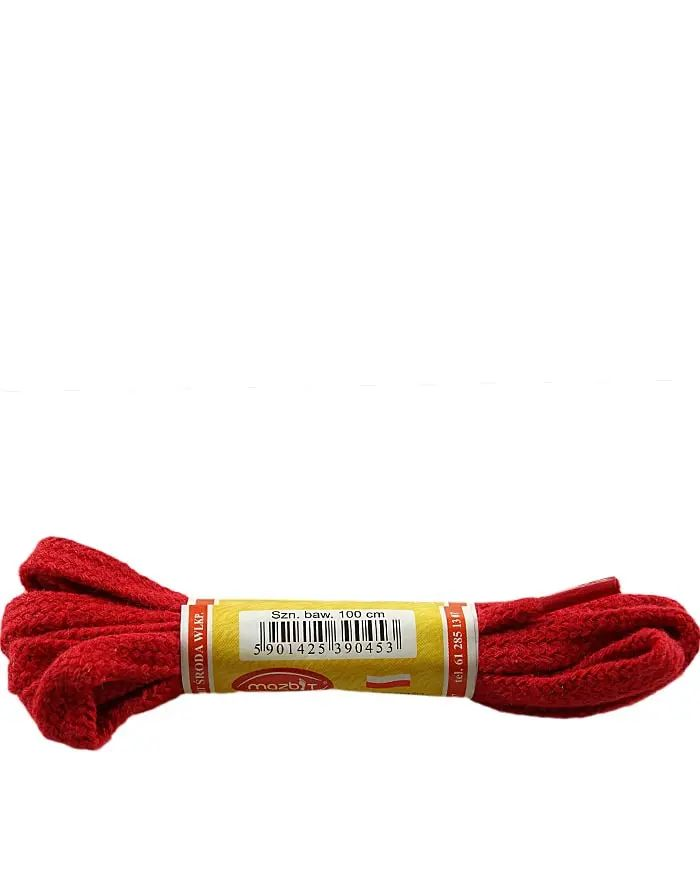 Czerwone, płaskie, sznurówki do butów 120 cm Mazbit
