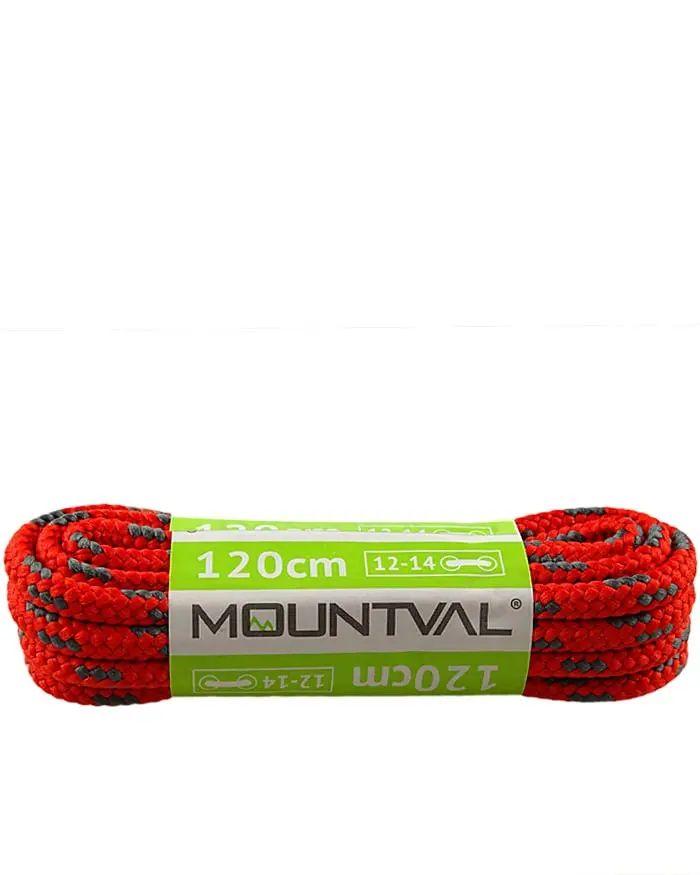 Czerwono-szare, trekkingowe sznurówki do butów, 150 cm, Mountval
