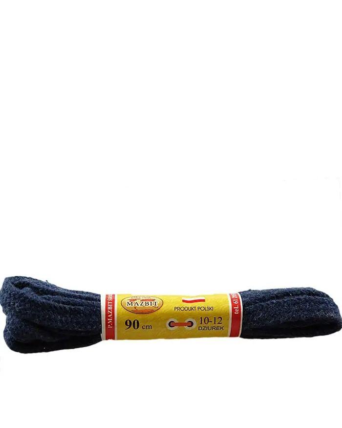 Granatowe, jeans, płaskie sznurówki do butów 90 cm Mazbit