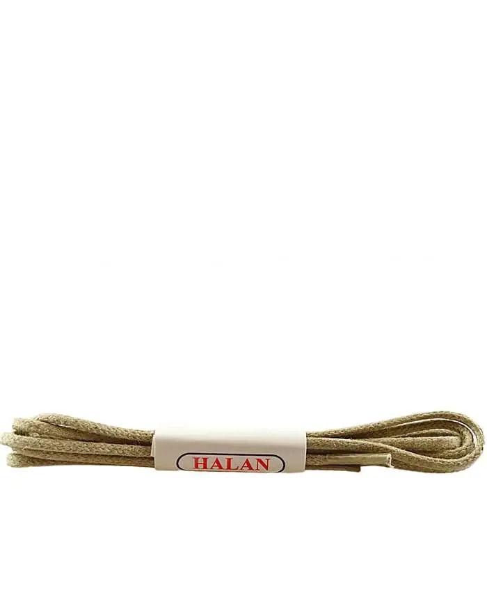 Jasnobeżowe, woskowane, sznurówki okrągłe cienkie 120 cm Halan