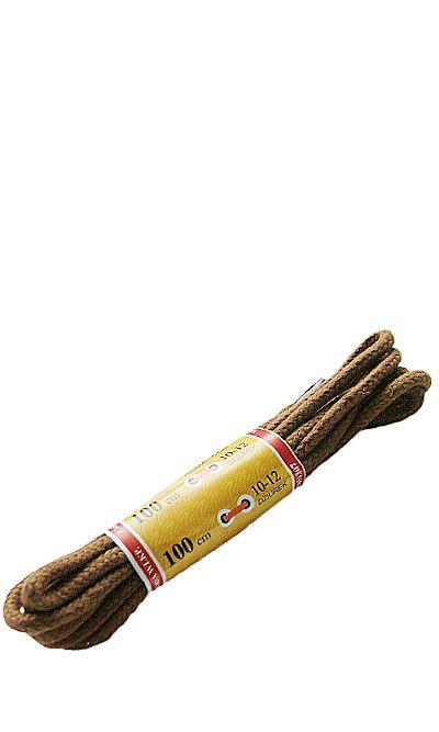 Jasnobrązowe, okrągłe grube, sznurówki do butów 100 cm Mazbit