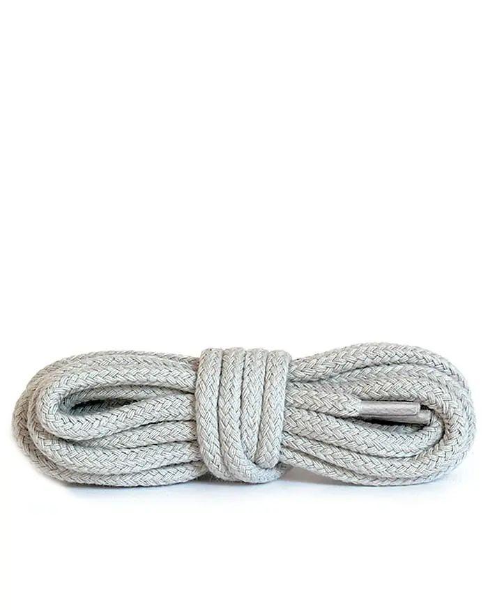Jasnoszare, okrągłe grube, sznurówki do butów 120 cm Kaps