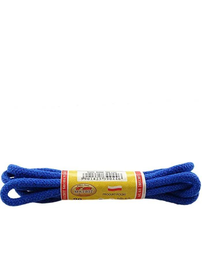 Niebieskie, okrągłe grube, sznurówki do butów 120 cm Mazbit