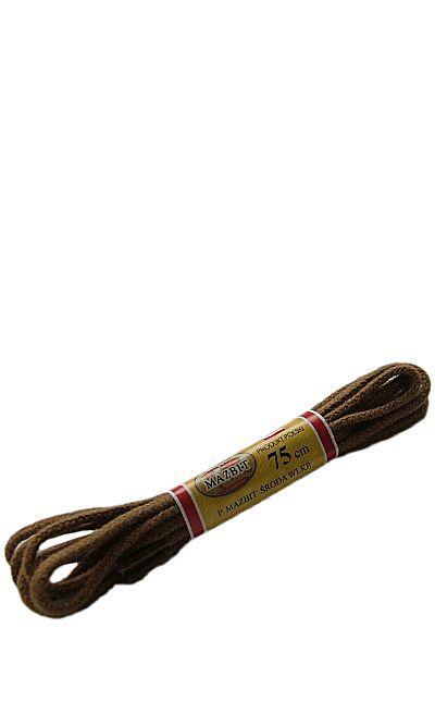 Jasnobrązowe sznurówki do butów, okrągłe cienkie 75 cm Mazbit
