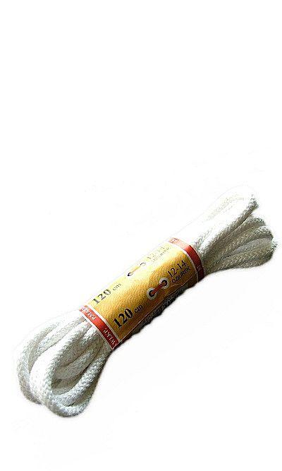 Białe, okrągłe grube, sznurówki do butów 120 cm Mazbit