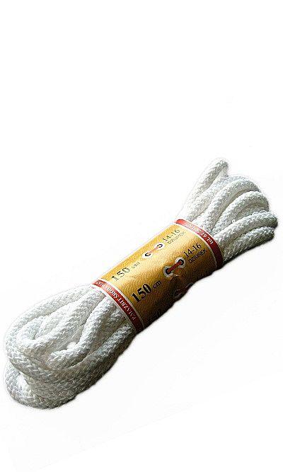 Białe, okrągłe grube, sznurówki do butów 150 cm Mazbit
