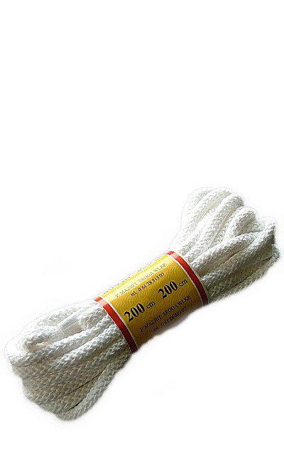 Białe, okrągłe grube, sznurówki do butów 200 cm Mazbit