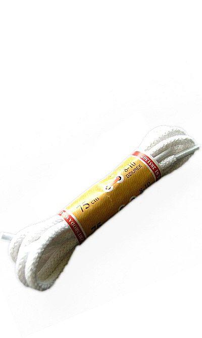 Białe sznurówki do butów, okrągłe grube 75 cm Mazbit