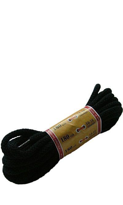 Czarne, okrągłe grube, sznurówki do butów 180 cm Mazbit