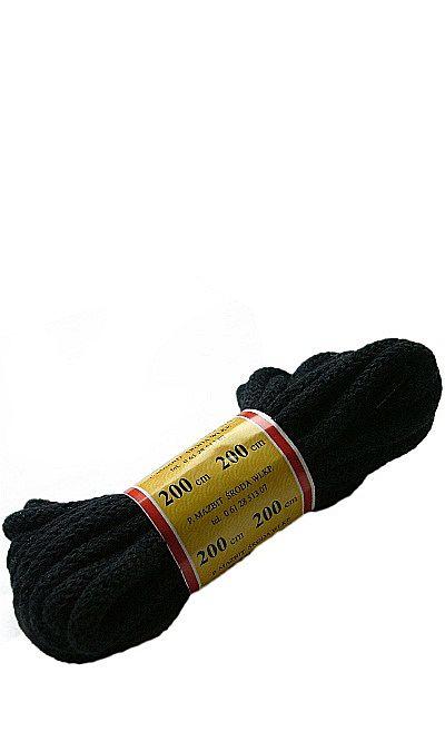 Czarne, okrągłe grube, sznurówki do butów 200 cm Mazbit