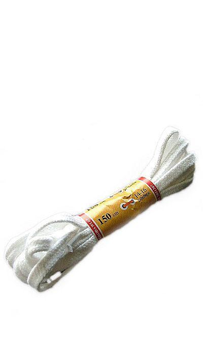 Białe, płaskie, sznurowadła do butów 150 cm Mazbit