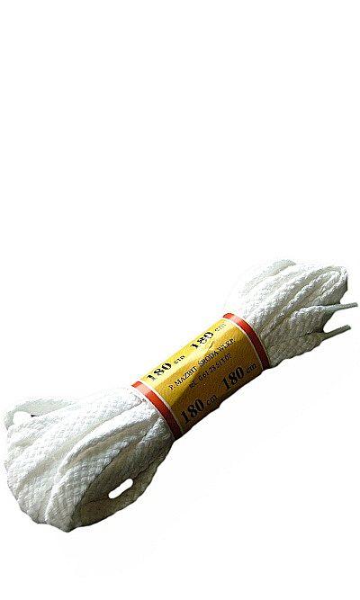 Białe, płaskie, sznurówki do butów 180 cm Mazbit