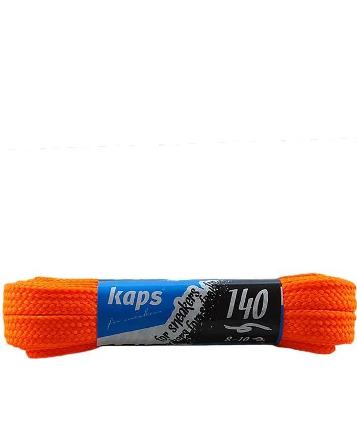 Pomarańczowe, neon, płaskie sznurówki do sneakersów, 140 cm, Kaps