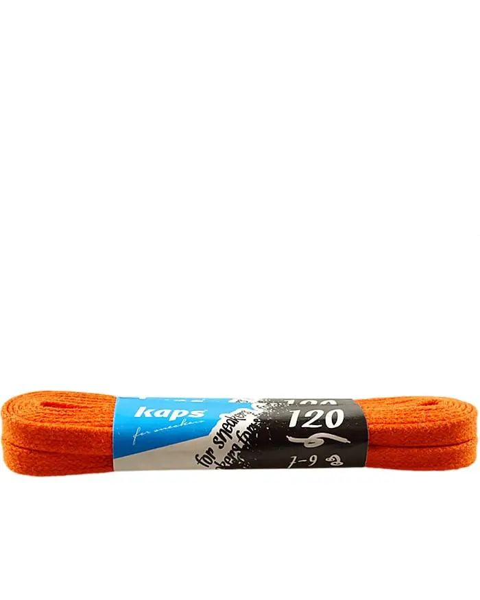 Pomarańczowe, woskowane, sznurówki płaskie 120 cm Kaps