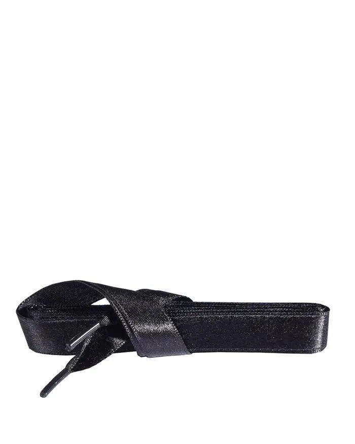Czarne, satynowe sznurówki do butów, płaskie, 120 cm Kaps