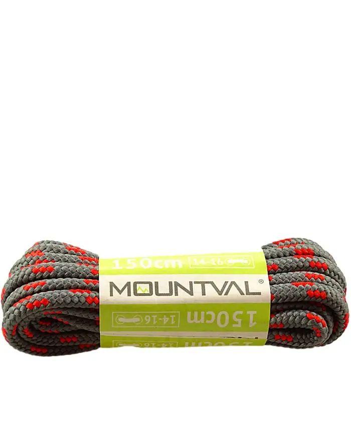 Szaro-czerwone, trekkingowe sznurówki do butów, 150 cm, Mountval