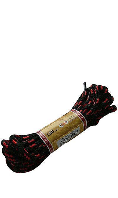 Czarno-czerwone, trekkingowe sznurówki do butów 180 cm Mazbit