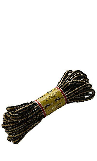 Czarno-miodowe, trekkingowe sznurówki do butów 200 cm Mazbit